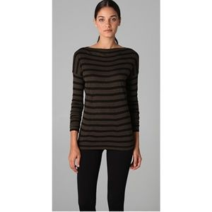 Vince | Striped boat neck top tee S